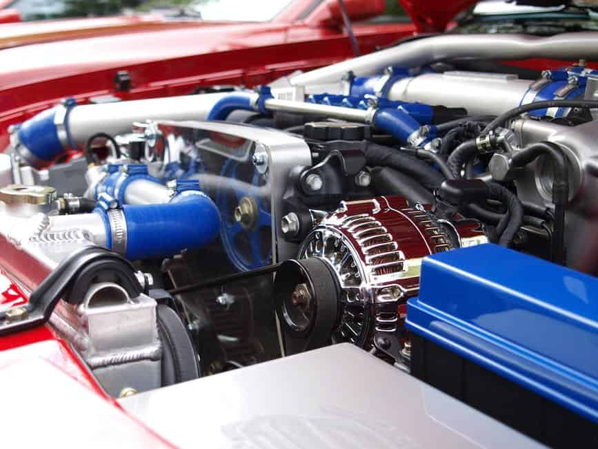 A blue motorcycle engine